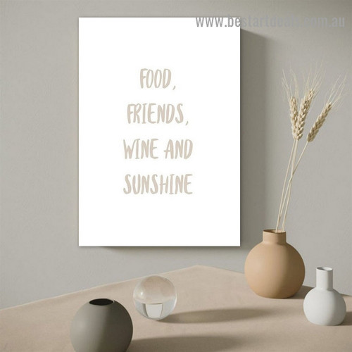 Friends Quote Typography Modern Framed Artwork Image Canvas Print for Room Wall Garnish