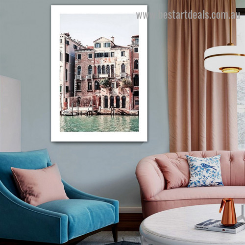Venice Building City Landscape Modern Framed Artwork Photo Canvas Print for Room Wall Décor