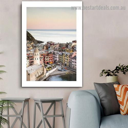 Colorful Houses City Landscape Modern Framed Portrait Photo Canvas Print for Room Wall Garnish
