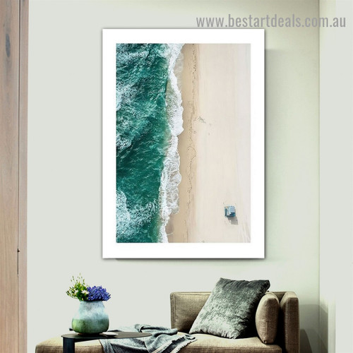 Beach Valley Landscape Modern Framed Artwork Picture Canvas Print for Room Wall Flourish