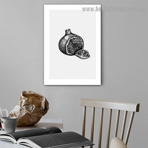 Faded Pomegranate Sketch Food and Beverage Modern Framed Artwork Picture Canvas Print for Room Wall Garnish
