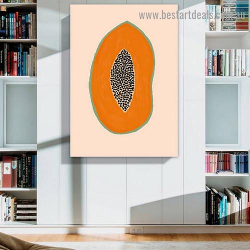 Sliced Papaya Food and Beverage Modern Framed Portrait Photo Canvas Print for Room Wall Garnish