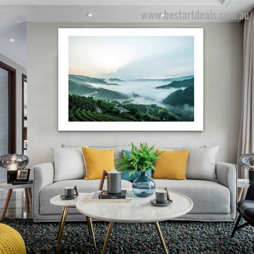 Foggy Valley Nature Landscape Modern Framed Artwork Picture Canvas Print for Room Wall Spruce