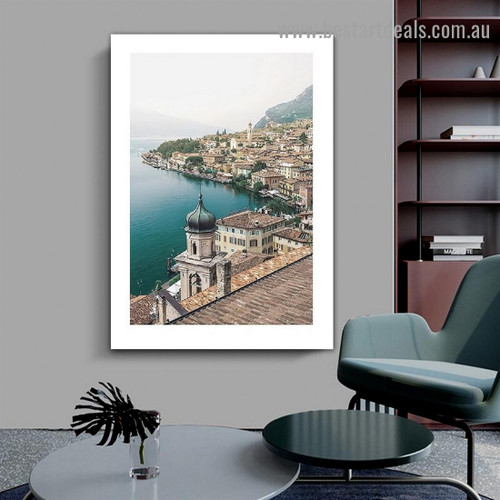 Limone Del Garda City Landscape Modern Framed Portrait Photo Canvas Print for Room Wall Adornment