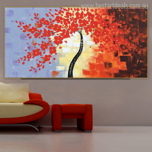 Red Leafage Watercolor Botanical Painting Canvas Print for Living Room Wall Applique