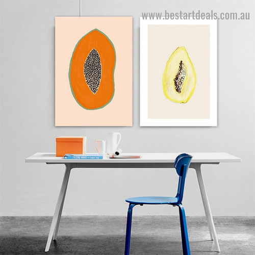 Papaya Illustration Food and Beverage Modern Framed Portrait Painting Canvas Print for Room Wall Adornment