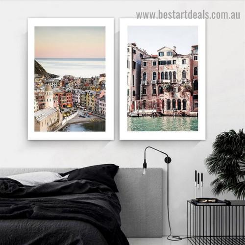 Varicolored Houses Landscape City Modern Framed Artwork Picture Canvas Print for Room Wall Garniture