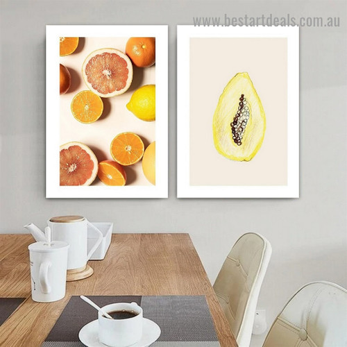 Citrus Fruits Food and Beverage Modern Framed Portrait Photo Canvas Print for Room Wall Drape