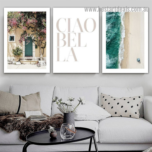 Ciao Bella Typography Architecture Modern Framed Portrait Painting Canvas Print for Room Wall Decoration