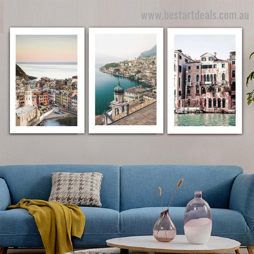 Lake Garda City Landscape Modern Framed Artwork Picture Canvas Print for Room Wall Drape