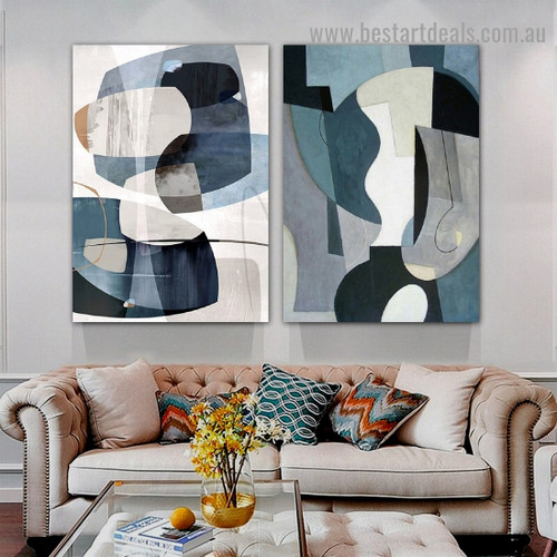 Blemishes Abstract Modern Framed Artwork Picture Canvas Print for Room Wall Drape