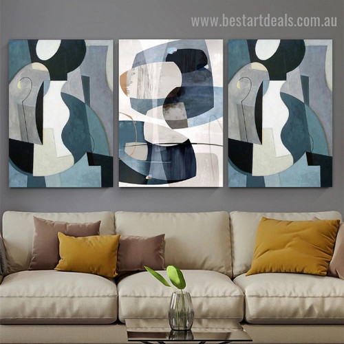 Smudges Abstract Modern Framed Artwork Photo Canvas Print for Room Wall Adornment