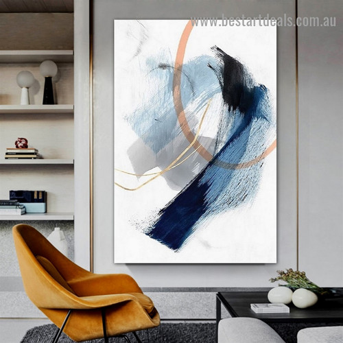 Roundabout Strokes Abstract Modern Framed Portrait Picture Canvas Print for Room Wall Spruce