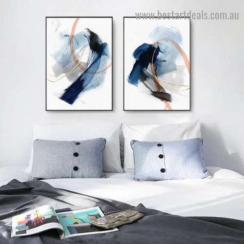 Polychrome Blots Abstract Modern Framed Portrait Photo Canvas Print for Room Wall Adorn