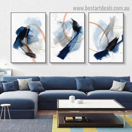 Varicolored Smudge Abstract Modern Framed Artwork Image Canvas Print for Room Wall Drape