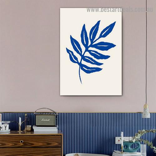 Blue Foliage Botanical Abstract Scandinavian Framed Artwork Image Canvas Print for Room Wall Garniture