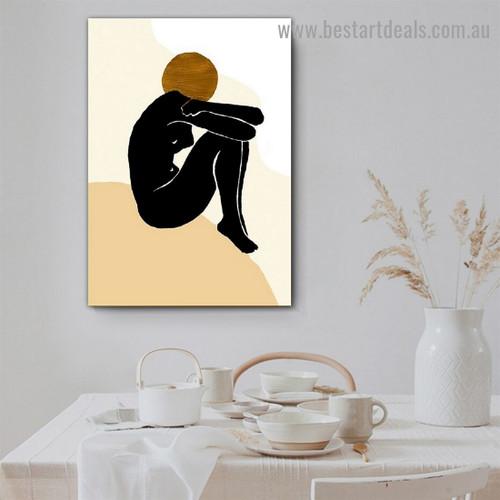 Black Woman Sitting Abstract Nude Scandinavian Framed Portrait Painting Canvas Print for Room Wall Decoration