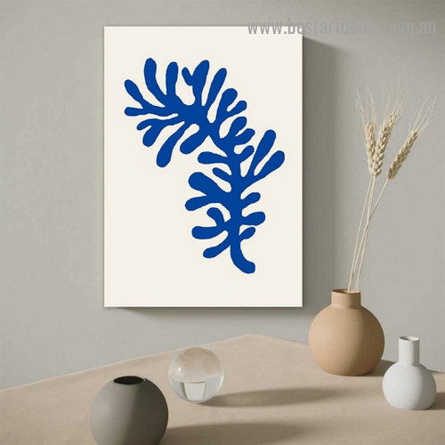 Blue Leaf Botanical Abstract Scandinavian Framed Portrait Picture Canvas Print for Room Wall Decoration