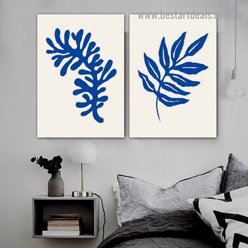 Blue Leaves Botanical Abstract Scandinavian Framed Portrait Painting Canvas Print for Room Wall Decoration