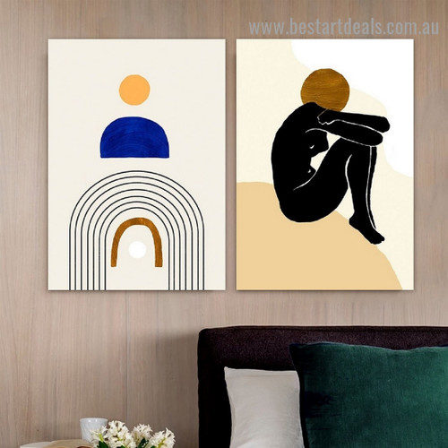 Sloping Design Nude Abstract Scandinavian Framed Portrait Painting Canvas Print for Room Wall Garniture