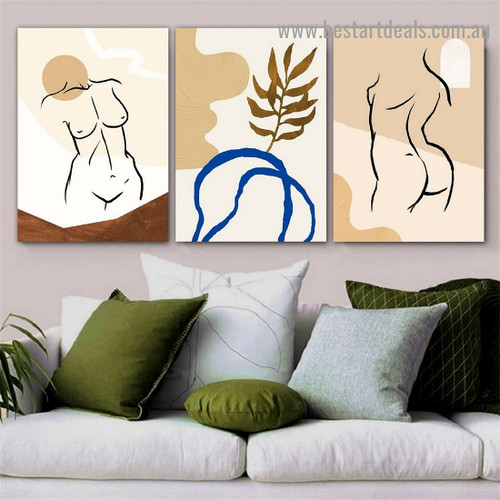 Naked Lady Nude Abstract Scandinavian Framed Artwork Picture Canvas Print for Room Wall Spruce