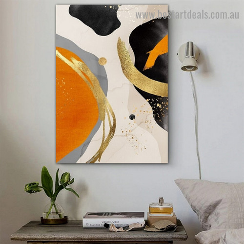 Multicolor Daubs Abstract Modern Framed Artwork Image Canvas Print for Room Wall Drape