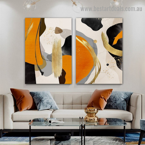 Varicolored Marble Design Abstract Modern Framed Artwork Picture Canvas Print for Room Wall Adornment