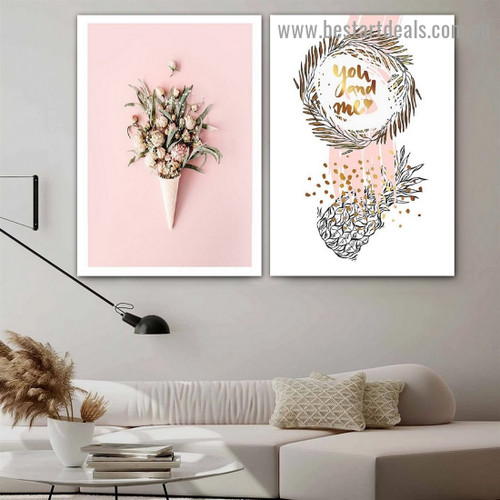 Pineapple Brunch botanical typography Modern Framed Artwork Image Canvas Print for Room Wall Decoration