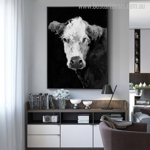 Dairy Cow Abstract Animal Modern Canvas Artwork Print for Living Room Wall Ornament