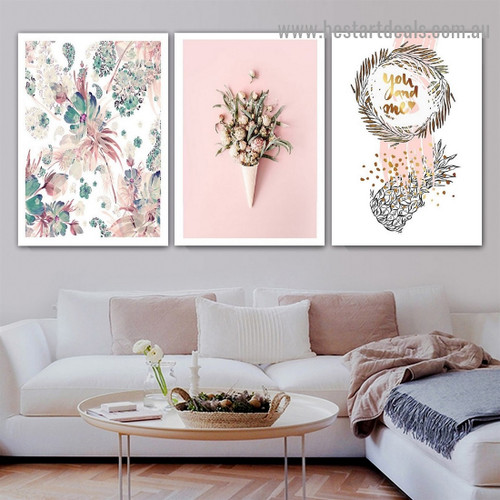 Dapple Blooms Botanical typography Modern Framed Artwork Picture Canvas Print for Room Wall Garnish