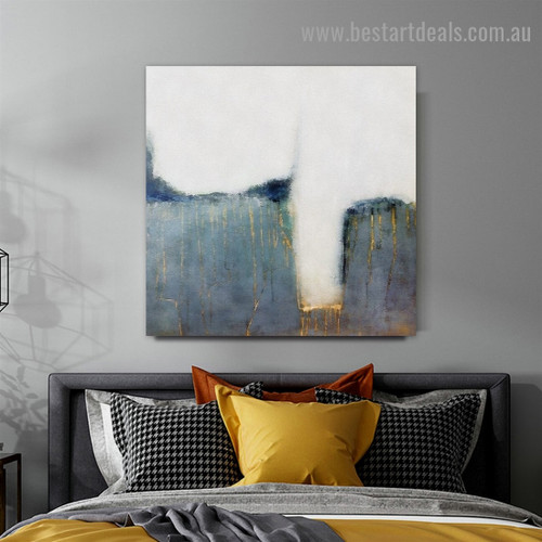 Seams Abstract Watercolor Framed Portrait Painting Canvas Print for Room Wall Ornament