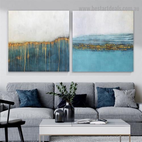 Dapple Streaks Abstract Watercolor Framed Artwork Photo Canvas Print for Room Wall Garnish