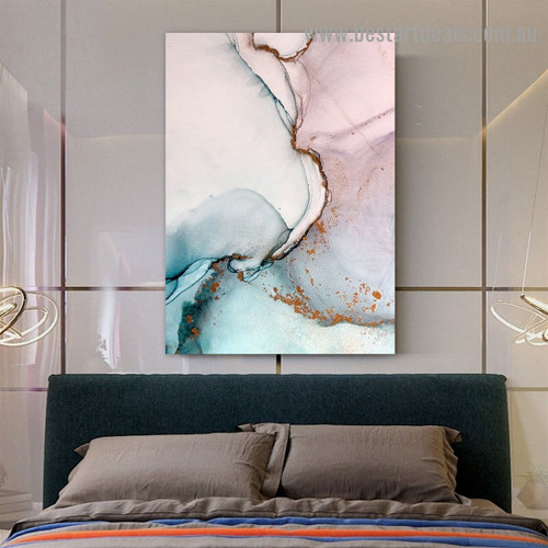 Colorific Marble Abstract Modern Framed Portrait Picture Canvas Print for Room Wall Flourish