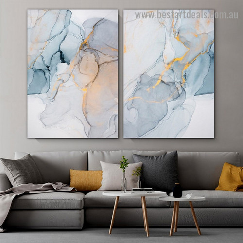 Diversified Marble Abstract Modern Framed Portrait Photo Canvas Print for Room Wall Spruce