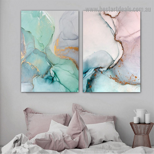 Varicolored Marble Abstract Modern Framed Artwork Image Canvas Print for Room Wall Adorn