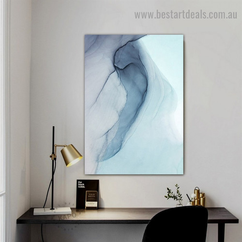 Streaky Marble Abstract Modern Framed Portrait Photo Canvas Print for Room Wall Spruce
