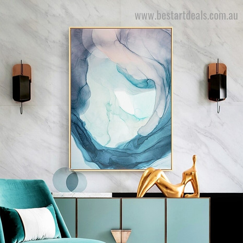 Curved Streaked Abstract Modern Framed Artwork Photo Canvas Print for Room Wall Garnish