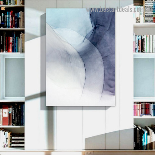 Sinuate Strokes Abstract Modern Framed Artwork Image Canvas Print for Room Wall Drape