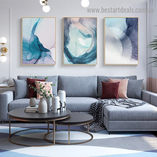 Varicolored Hazy Art Abstract Modern Framed Portrait Painting Canvas Print for Room Wall Garniture