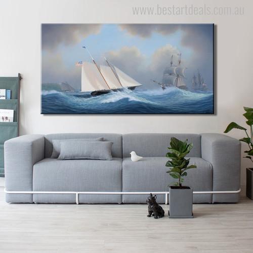 Schooner Ships Landscape Seascape Modern Wall Art Picture Print for Living Room Decor