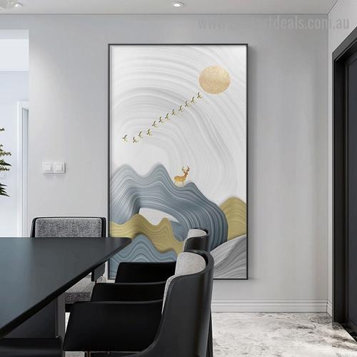 Birds Swarm Abstract Modern Framed Artwork Portrait Canvas Print for Room Wall Garniture