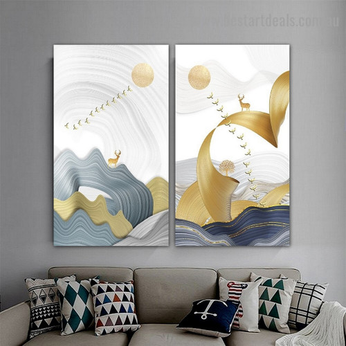 Aerial Bird Cluster Abstract Modern Framed Artwork Picture Canvas Print for Room Wall Garnish