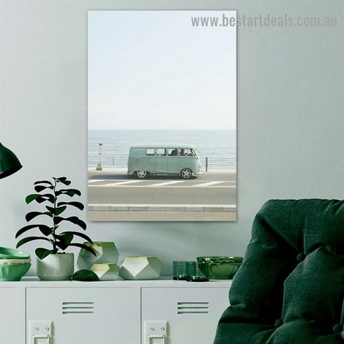 Roadside Van Travel Landscape Modern Framed Portrait Picture Canvas Print for Room Wall Decor