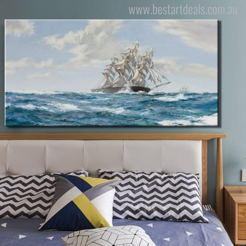 Windjammer Ship Landscape Seascape Contemporary Painting Print for Bedroom Wall Outfit