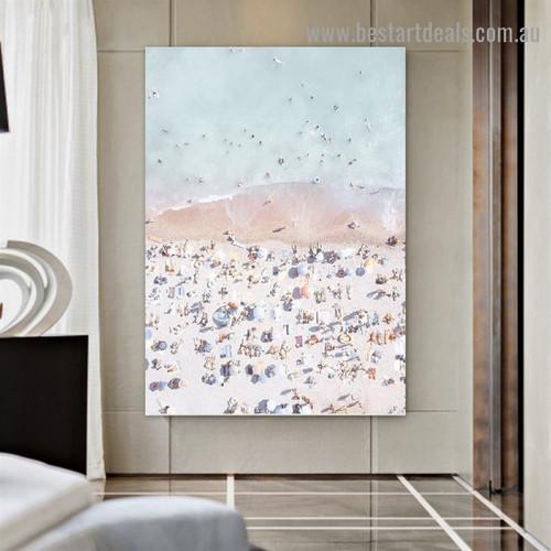 Crowded Beach Figure Landscape Modern Framed Artwork Image Canvas Print for Room Wall Garnish