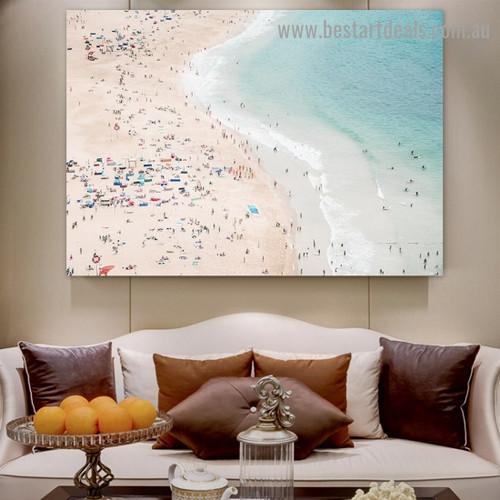 People on Beach Figure Landscape Modern Framed Portrait Photo Canvas Print for Room Wall Drape