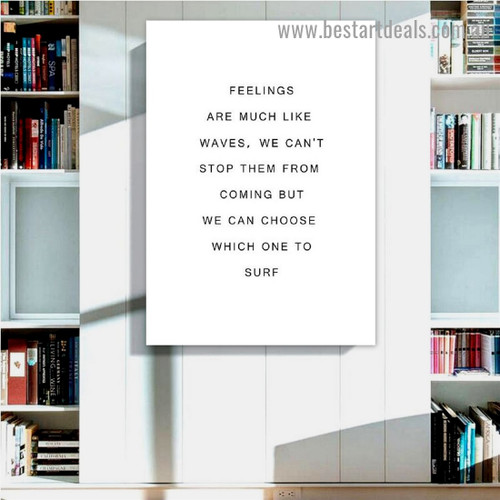 Feelings Quote Typography Modern Framed Artwork Portrait Canvas Print for Room Wall Ornament