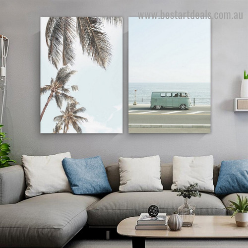 Palm Leaves Botanical Travel Modern Framed Portrait Picture Canvas Print for Room Wall Spruce