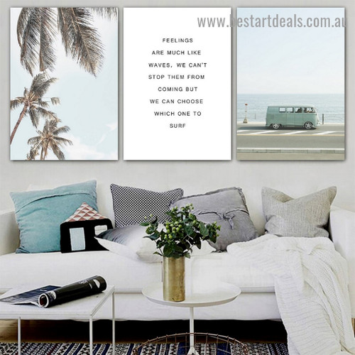 Parked Van Travel Quote Botanical Modern Framed Artwork Picture Canvas Print for Room Wall Decoration