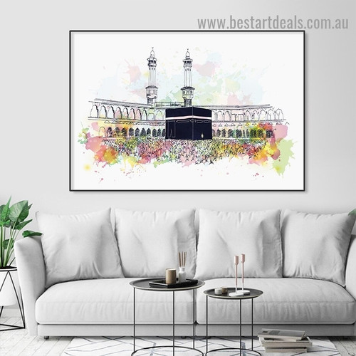 Mecca Mosque Abstract Religious Watercolor Framed Artwork Image Canvas Print for Room Wall Adornment